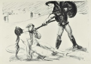 "Max Slevogt, Hektors Flucht, 1907  (Lithographie, Blatt12 der Folge ""Achill"""