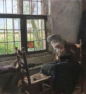 Max Liebermann Stopfende Alte am Fenster, 1880 © Privatbesitz, Foto: Tammo Ernst