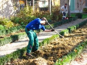 In die langen Beeten im Liebermann-Garten wird Mist untergearbeitet.