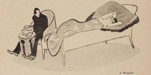 """""""Modezwang: 'siehst du Edwin, nachdem du eine Erbschaft gemacht hast, könnten wir nun heiraten, wenn nicht gerade die freie Liebe modern wäre!'"""", Albert Weisgerber, Die Jugend, 1909, Nr. 31, S. 729 (Detail)"""