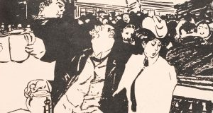 """""""Herr Lehmann aus Berlin im Münchner Hofbräuhaus: """"Vaehrtestes Fräulein, Sie haben mir dich heute lange jenug reden jehört, nu sagen Se man: hat mein Freund Pinneberg wirklich Recht jehabt, der jestern zu mir sagte, ich hätte mir in Tejernsee in der Sommerfrische janz den bayrischen Dialekt anjewöhnt. Finden Se det ooch?"""", Albert Weisgerber, Die Jugend, 1907, Nr. 31, S. 677 (Detail)"""