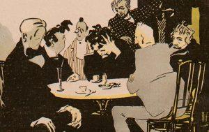 """""""Literaturgrößen: 'meine Schuldenlast in dieser Schlemmerbude ist ins Gigantische gestiegen! Was soll ich thun? – Ich werde die Wirthin heirathen!'"""" Albert Weisgerber, Die Jugend, 1905, Nr. 31, S. 592 (Detail)"""