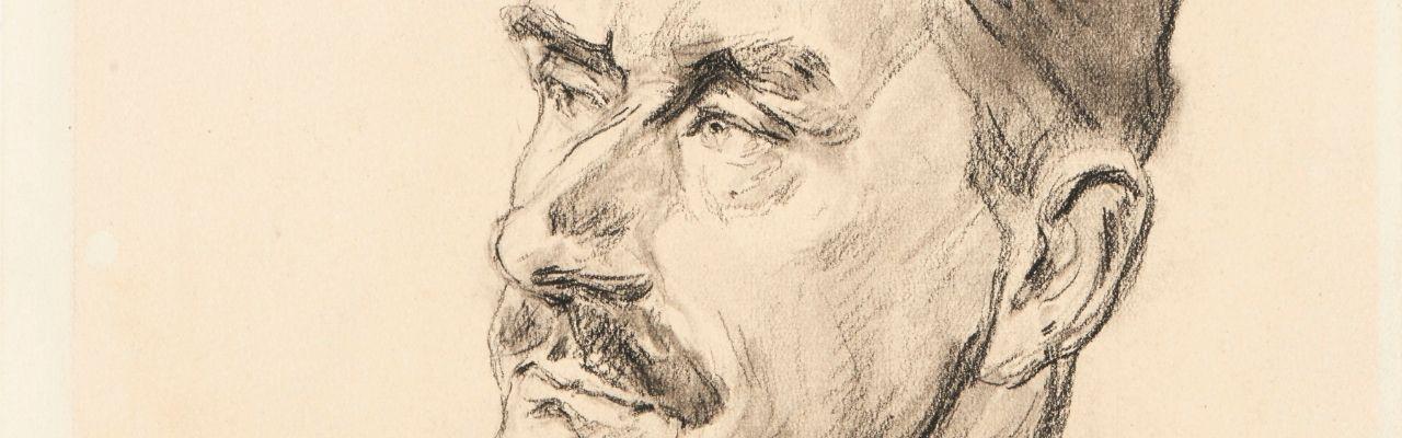 Max Liebermann: Porträt Thomas Mann, um 1925, Kohle, 29 x 20 cm, die Lübecker Museen, Museum Behnhaus Drägerhaus