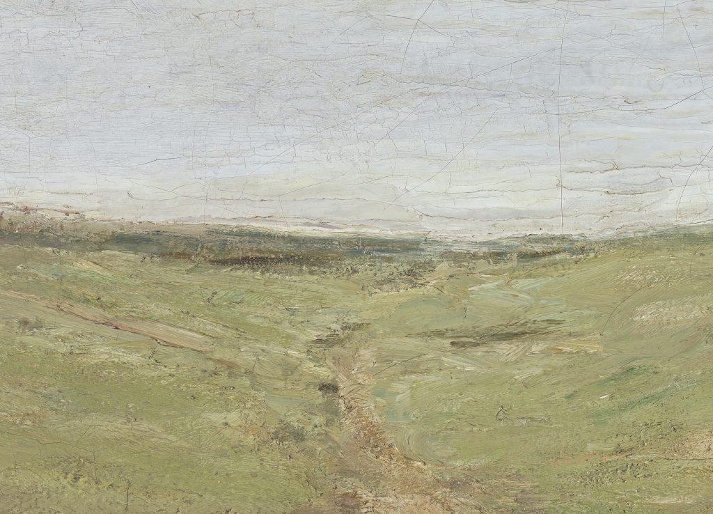 Detail des Gemäldes Frau mit Geißen in den Dünen. Es zeigt einen Ausschnitt der hellgrünen Dünenfläche und des hellblauen Himmels. Der Ausschnitt zeigt den pastosen Auftrag des Kunstwerkes.
