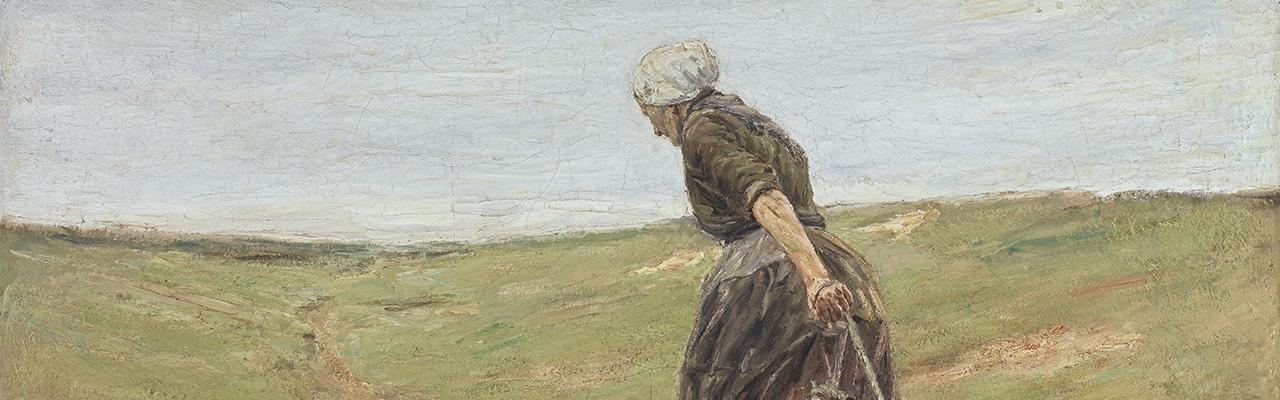 Max Liebermanns Gemälde, eine Frau die zwei Ziegen hinter sich zieht. Sie geht die Dünen entlang, der Himmel ist blau.